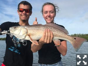 Corbin and his girlfriend Sarah, teased a nice redfish.