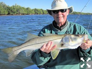 Keith McClintock, from Lake Forest, IL, with a 28 inch snook caught and released on a CAL jig with a shad tail while fishing Gasparilla Sound near Boca Grande with Capt. Rick Grassett.