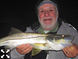 Martin Marlowe, from NY, had a great evening trip recently catching and releasing snook and blues on a Grassett Snook Minnow fly while fishing the ICW with Capt. Rick Grassett.
