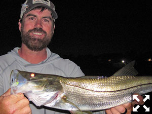 Adam Lawson, from MT, with a snook caught and released on a Grassett Snook Minnow fly while fishing the ICW at night recently with Capt. Rick Grassett.