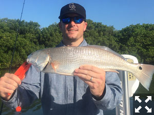 Rockies fan Don Sutherland with a nice red he caught in Sarasota Bay