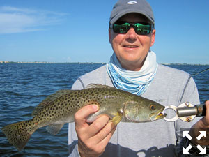 Jeff Babik, from IL, with a Sarasota Bay trout caught and released on a CAL jig with a shad tail while fishing with Capt. Rick Grassett.